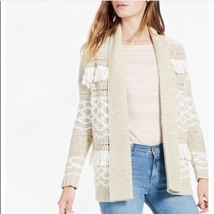Lucky Brand Fringe Chunky Knit Open Front Cardigan